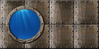 Предпосылка металла пара иллюминатора подводной лодки панковская Стоковые Фотографии RF