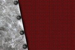 Предпосылка металла Grunge заклепка на белой металлической пластине Стоковая Фотография