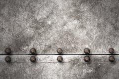 Предпосылка металла Grunge заклепка на металлической пластине Стоковые Фотографии RF