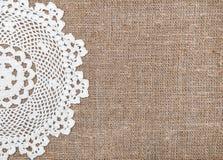 Предпосылка мешковины с кружевной тканью Стоковое Фото