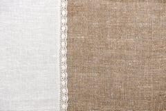 Предпосылка мешковины с linen тканью Стоковое Изображение