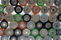 Предпосылка много l батарей щелочных аккумуляторов батарей Стоковое Фото