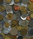 Предпосылка монеток европейца и мира Стоковое Изображение RF