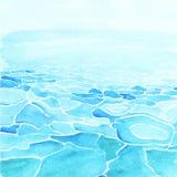 Предпосылка моря акварели сделанная в векторе Стоковые Фото
