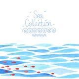 Предпосылка моря акварели с красными рыбами Стоковое Изображение