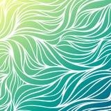Предпосылка моря волны рук-чертежа цвета вектора Голубая абстрактная текстура океана Стоковое фото RF