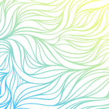 Предпосылка моря волны рук-чертежа цвета вектора Голубая абстрактная текстура океана Стоковая Фотография RF