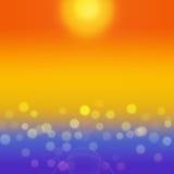 Предпосылка моря лета с желтым bokeh стоковые изображения rf