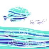 Предпосылка моря с голубыми рыбами иллюстрация вектора