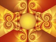 Предпосылка мотива конспекта искусства цифров золотая оранжевая Стоковые Изображения RF