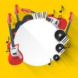 Предпосылка музыки вектора в плоском дизайне стиля Стоковая Фотография RF
