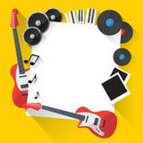 Предпосылка музыки вектора в плоском дизайне стиля Стоковое Изображение