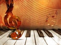 Предпосылка музыки с ключами рояля и примечаниями музыки Стоковое Фото