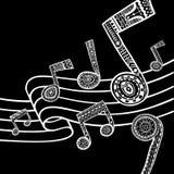 Предпосылка музыки черно-белая Стоковые Изображения