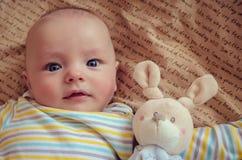 предпосылка младенца изолированная над сладостной белизной игрушки Стоковые Изображения