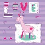 Предпосылка младенца с милым жирафом Стоковое Изображение RF