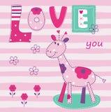 Предпосылка младенца с милым жирафом Стоковое Фото