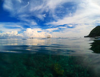 Предпосылка неба и моря естественная Двойные вода ландшафта и фото неба Стоковая Фотография