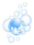 Предпосылка неба и пузырей Стоковая Фотография RF