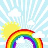 Предпосылка неба с облаками, солнцем и радугой иллюстрация штока