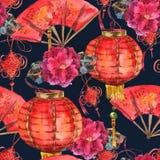 Предпосылка Нового Года безшовной акварели китайская Стоковые Изображения RF