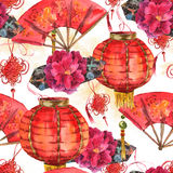 Предпосылка Нового Года безшовной акварели китайская Стоковые Фотографии RF