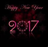 Предпосылка Нового Года вектора 2017 счастливая с розовыми часами Стоковая Фотография RF