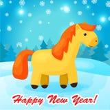 Предпосылка Нового Года с смешной лошадью шаржа Стоковое Изображение