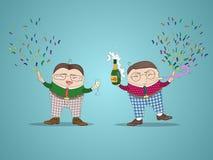 Предпосылка Нового Года с смешными персонажами из мультфильма Стоковые Изображения