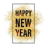 Предпосылка 2017 Нового Года яркого блеска золота счастливая Стоковые Фото