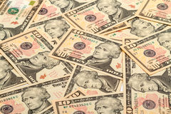 Предпосылка новых банкнот 10 долларов Стоковые Фотографии RF