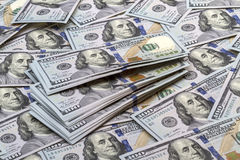 Предпосылка новых банкнот 100 долларов Стоковая Фотография RF