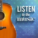 Предпосылка нот с гитарой бесплатная иллюстрация