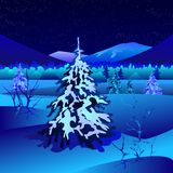 Предпосылка ночи зимы Стоковое Фото