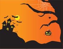 Предпосылка ночи хеллоуина с замком и тыквами, иллюстрацией Стоковое Изображение RF