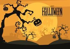 Предпосылка ночи хеллоуина с полнолунием и тыквами Стоковые Изображения