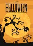Предпосылка ночи хеллоуина с полнолунием и тыквами Стоковая Фотография