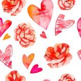 Предпосылка дня Валентайн Безшовная картина сердец и роз камелия вектор Стоковое Изображение