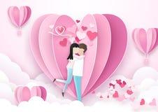 Предпосылка дня Валентайн Поцелуй положения пар и форма сердца бесплатная иллюстрация