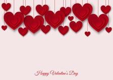 Предпосылка дня валентинок с красным цветом отрезала бумажные сердца Стоковое Фото