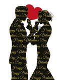 Предпосылка дня валентинок с парой silhouette делить стекло Стоковая Фотография RF