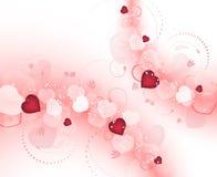 Предпосылка дня валентинок с расплывчатыми красными сердцами и спиральным цветочным узором Стоковые Изображения RF