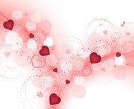Предпосылка дня валентинок с расплывчатыми красными сердцами и спиральным цветочным узором Стоковое Изображение