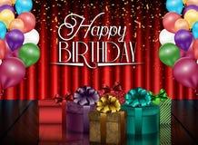 Предпосылка дня рождения партии с воздушными шарами и подарочными коробками цвета на предпосылке занавеса Стоковая Фотография