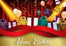 Предпосылка дня рождения партии с воздушными шарами и подарочными коробками цвета на красной предпосылке занавеса Стоковые Изображения