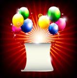 Предпосылка дня рождения с воздушным шаром и место для текста иллюстрация штока
