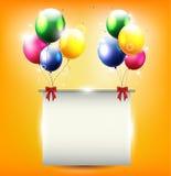 Предпосылка дня рождения с воздушным шаром и место для текста иллюстрация вектора