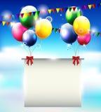 Предпосылка дня рождения с воздушным шаром и место для текста бесплатная иллюстрация