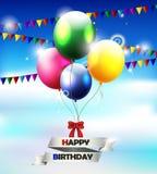 Предпосылка дня рождения с воздушным шаром бесплатная иллюстрация