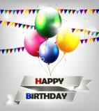 Предпосылка дня рождения с воздушным шаром иллюстрация штока